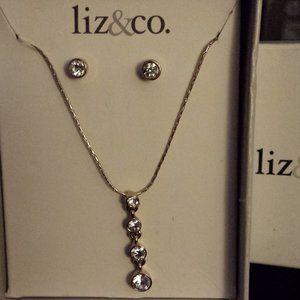 White Rhinestone Necklace & Earring Set